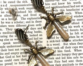 Steampunk Chandelier Earrings, Firefly Earring, Firefly Jewelry,  Drop Earrings, Insect Jewelry,  Bug Earrings