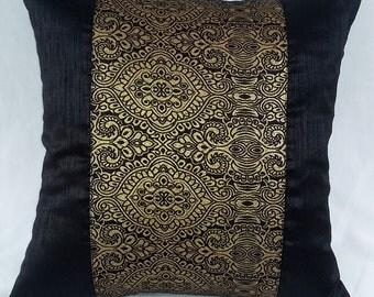 black brocade gold  throw pillow. Brocade damask  black decaretve cushion cover.  Festive  pillow       18inch 2 in