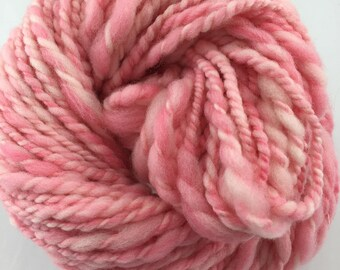 "Handspun Yarn Bulky Thick-Thin Art Yarn ""Cotton Candy"" 88 yds."