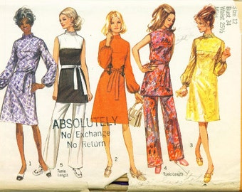 Vintage 1970 Simplicity pattern 9125 Misses Dress or Tunic and Pants