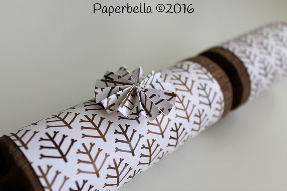 Fill Your Own Party Crackers Christmas Brown Barren Winter Trees Party Popper, Personalize with Your Monogram and a Paper Rosette