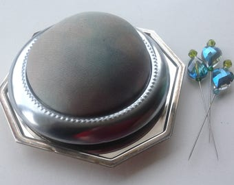 Hand Dyed Silk Pincushion - Stainless Steel & Silverplated Base - Sewing Accessory - Gift for Quilter - Sewing Gift - Decorative Sewing Pins
