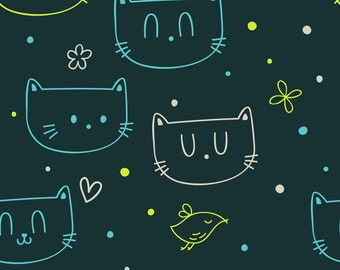 Cat Fabric by the Yard - Cats By Fleurpaperco - Modern Nursery Decor Cat Cotton Fabric By The Yard With Spoonflower