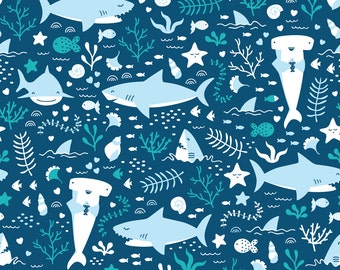 Blue Shark Fabric - Happy Sharks By Innamoreva - Modern Nautical Shark Cotton Fabric By The Yard With Spoonflower