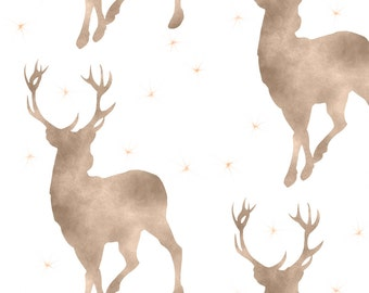 Watercolor Buck Fabric - Buck In Tan Baby Boy Woodland Nursery By Sugarpinedesign - Cotton Fabric by the Yard with Spoonflower