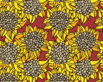 Summer Sunflower Fabric - Sunflowers On Red By Lorose - Summer Sunflower Nursery Decor Cotton Fabric By The Yard With Spoonflower