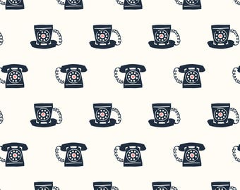 Retro Telephone Fabric - Retro Telephones By Laura May Designs - Retro Telephone Cotton Fabric By The Yard With Spoonflower