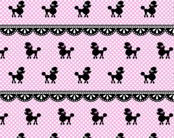 Pink Poodle Polka Fabric - Pink Poodle Polka By Mezzo - Baby Girl Poodle Nursery Decor Cotton Fabric By The Yard With Spoonflower