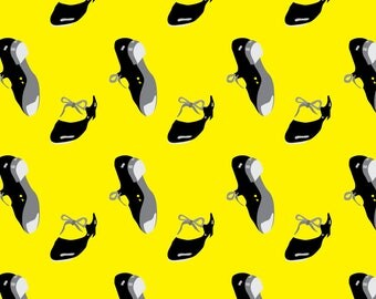 Tap Shoes Fabric - Dance Tap Shoes Dancing Clothing Sport Novelty Yellow By Misschiffdesigns - Cotton Fabric by the Yard with Spoonflower