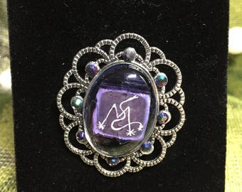 Marie Laveau Vodou Veve brooch with crystal accents