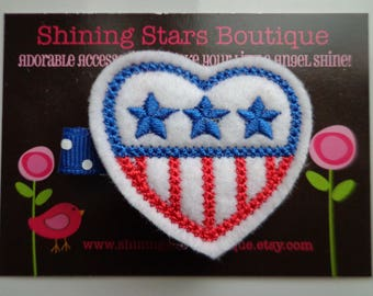 Felt Hair Clip - Hair Accessories - Patriotic Red, White, And Royal Blue Embroidered Felt Flag With Stars And Stripes Heart Shaped Hair Clip