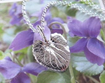 Sweet Violet Leaf Jewelry - Pure Silver Real Leaf Pendant, Herb Jewelry, Botanical Jewelry