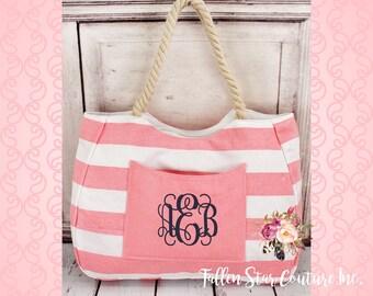 Pink Nautical Striped Front Pocket Tote with Rope Handles , bridesmaid tote bag , bridal party totes