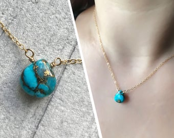 Turquoise Necklace - Delicate Gold Filled Turquoise Necklace