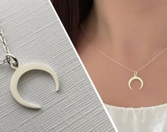 Crescent Moon Necklace, Upside Down Moon Necklace, Double Horn Necklace, Tusk Necklace, Sterling Silver
