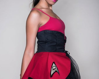 Final Frontier Dead Red Engineer Inspired Cincher Skirt