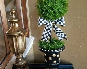Mac Kenzie Child courtly check ribbon on my custom painted topiary