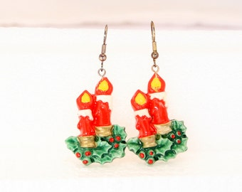 Christmas Candle Earrings Pierced Vintage  Dangles Holly Berries Red Green Colorful