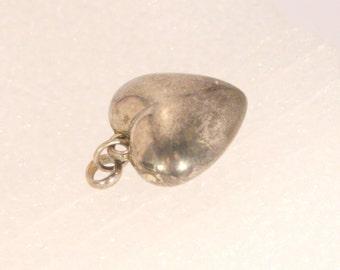 Vintage Silver Puffy Heart Charm Love Romance Heart Shaped Pendant