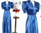 Vintage 1940s Dressing Gown - Glamorous Royal Blue Liquid Rayon Satin 40s Hostess Gown with Long Front Zipper and Marvelous Sleeves
