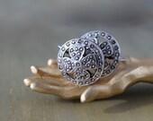 Steel Cut Shamrock Earrings, Sterling Silver Shamrock Earrings, Four Leaf Clover Earrings, St. Patrick's Day, Vintage Shamrock Earrings