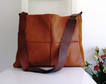 Ginger Leather and Canvas Messenger