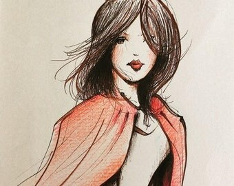 HALF PRICE Original drawing of Red Riding Hood by Andrea Joseph