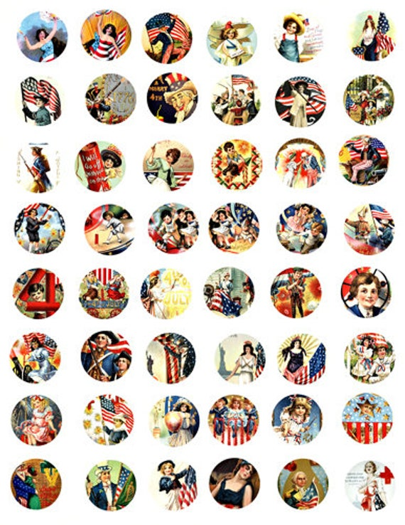 USA flag fourth 4th of july domino collage sheet 1 inch circles patriotic vintage art American independence day clip art digital download