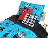 RESERVED LISTING for Cozy Classics - Doll bedding set 4 pcs for Barbie, Blythe or other 1/6 doll, boy comforter pillow pirate map blue brown