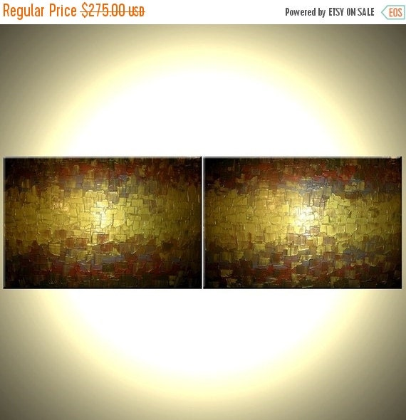 Original Gold Metallic Art Painting - 24 x 72 Sale 22% Off