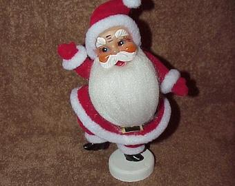 "Vintage--Dancing SANTA Claus--Flocked FIGURINE--9-3/8"" High--Made Japan"