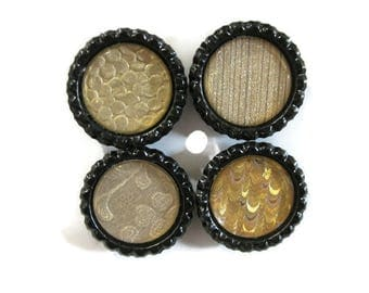 Gold on Black Modern Designs Themed Bottle Cap Magnets Set of 4