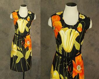 vintage 60s Dress - 1960s Large Garden Floral Wiggle Dress - California Poppy Shift Dress Sz S