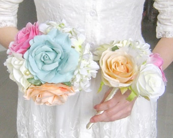 Bridal Bouquet Bridesmaid Bouquet Rose Flowers bouquets Pink Aqua Champagne Shabby Chic flower girl set (B010)