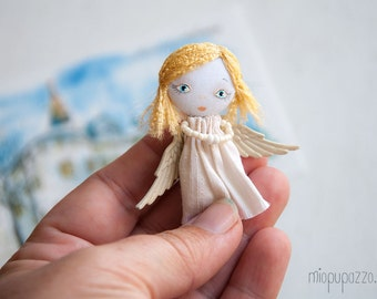 Little Personal Angel, Art Doll Brooch, gift for her