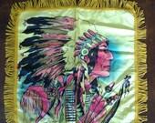 1940s Coleville Washinton Native American souvenir satin pillow sham
