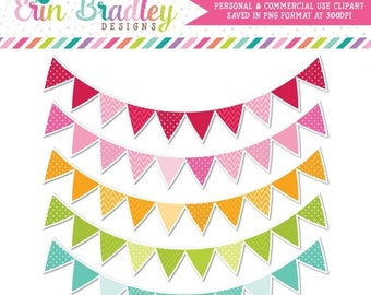 50% OFF SALE Colorful Pennant Banner Flags Clipart Commercial Use Clip Art Graphics