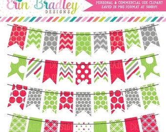 50% OFF SALE Holiday Red Green and Gray Bunting Banner Flag Clipart Clip Art Set Personal & Commercial Use