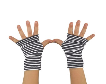 Toddler Kids Arm Warmers in Grey and White Stripes - Fingerless Gloves