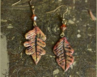 Oak leaf Autumn earrings - OOAK Handmade jewelry sculpt