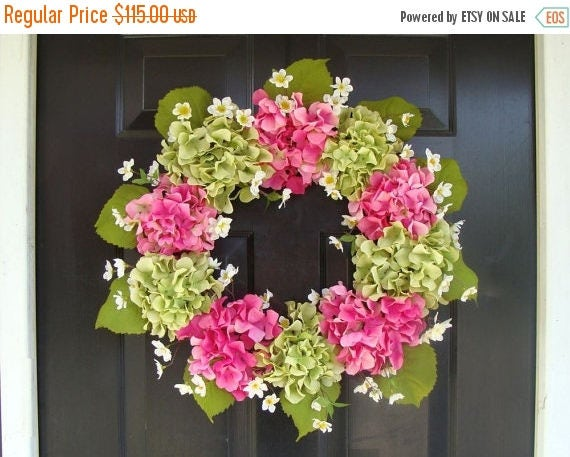 SPRING WREATH SALE Summer Wreath- Mother's Day Wreath- Hydrangea Spring Wreath- Summer Wreaths- Mother's Day Gift- Year Round Wreath