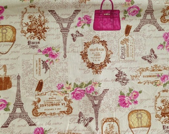 Fabric, Cream, Pink, Brown, Paris, Afternoon Tea, France, Eiffel, Macaroon, Canvas, children, cartoon, vintage style, textile, ONE YARD