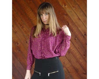 Pink and Gold Flecked Button Down Blouse - Vintage 80s - M