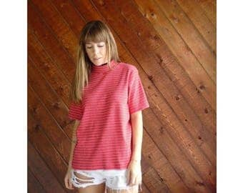25% off Flash Sale . . . Red Striped Mock Neck Knit s/s Tee - Vintage 90s - L