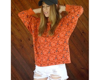 Orange Navajo Print Batwing Sleeve Knit Tee Top - Vintage 90s - M/L Petite