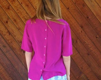 extra 30% off sale . . . Magenta Pink Silk SS Blouse with Back Buttons - Vintage 90s - MEDIUM