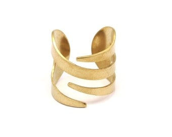 Brass Spiral Ring - 20 Raw Brass Adjustable Ring Settings - 16-17mm / 23 Gauge Mn6