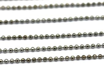 Gunmetal Faceted Chain, 300 Meters - 33 Feet 1.2 Gunmetal Brass Faceted Ball Chain - W72  ( Z023 )