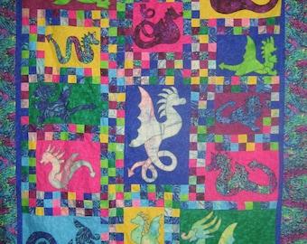 Quilt pattern - Dragons Alive - fantastic scrappy applique dragon quilt pattern - Print/Paper pattern