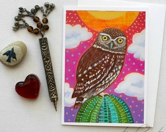 Elf Owl on Cactus - 5x7 Art Card with Envelope